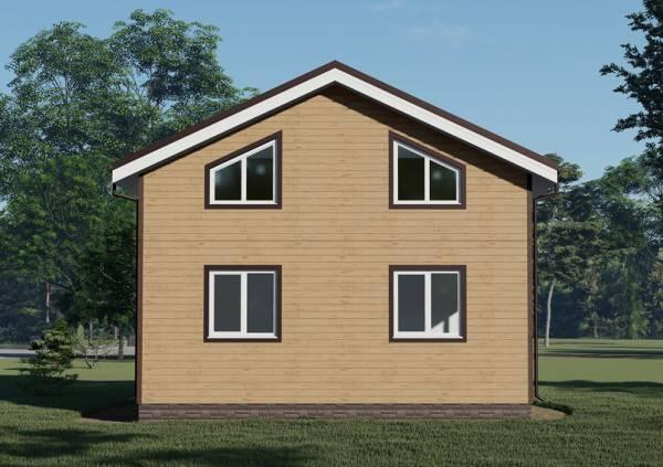4 окна на фасаде коттеджа 8х9,5