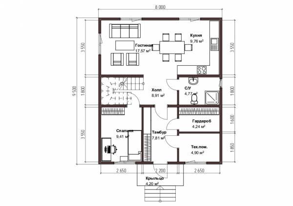 Планировка коттеджа 8х9,5 первый этаж