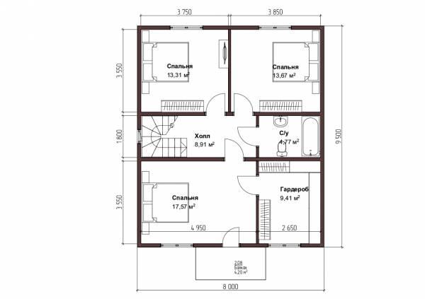 Планировка коттеджа 8х9,5 второй этаж