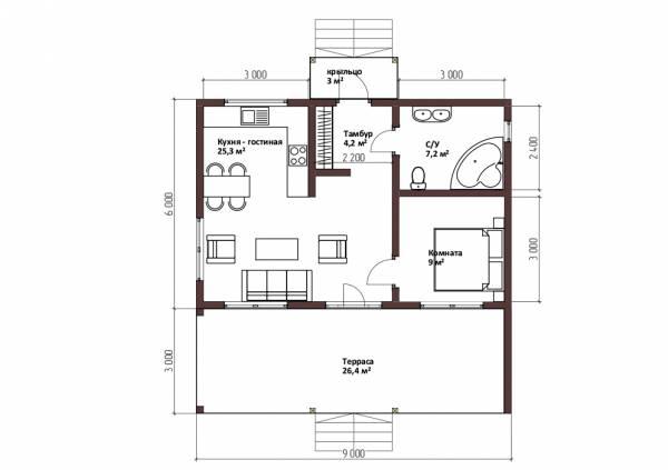 Планировка одноэтажного дома в стиле барнхаус