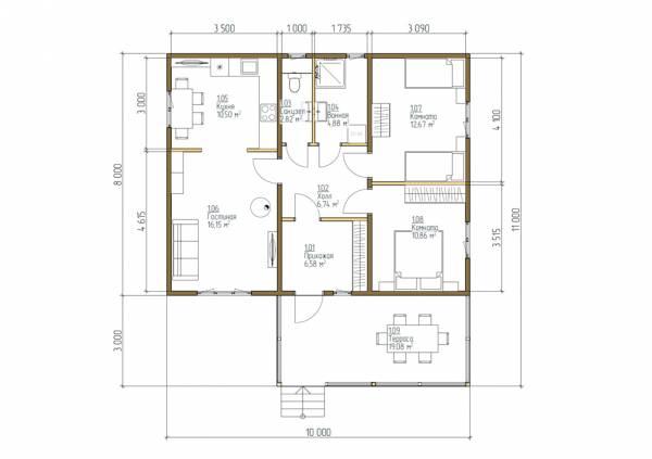 Отличная планировка дачного дома 8х10 проект Узорово.