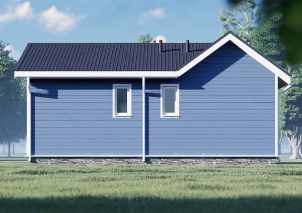 Фасад с двумя маленькими окнами дома 8х10