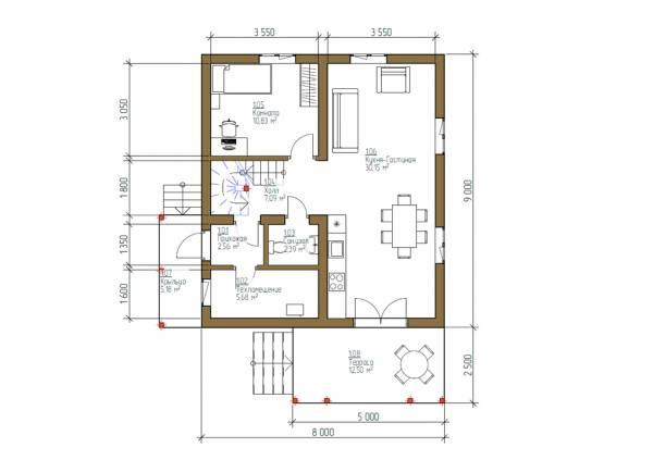 Планировка дома 8х9 первый этаж