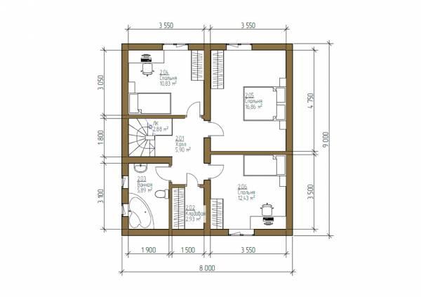 Планировка 8х9 второй этаж.