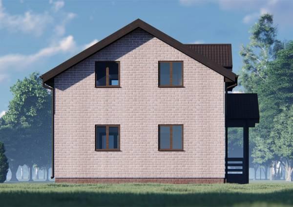 Фасад дома 8х9 четыре окна.