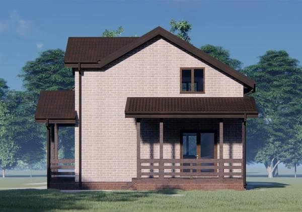 Фасад с крыльцом дома 8х9