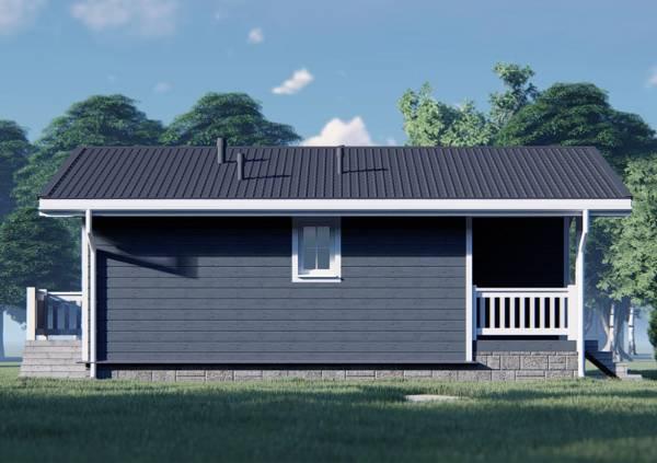 Фасад дома с одним окном 8,6х9,2