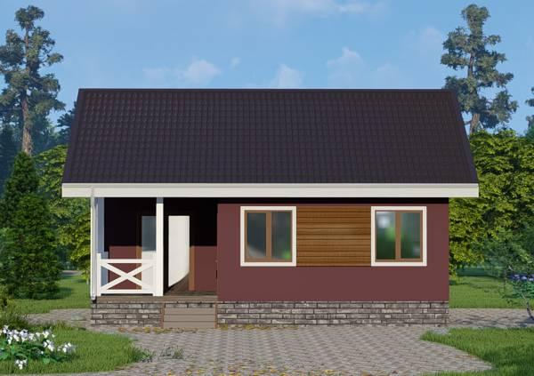 Фасад с двумя окнами дачного дома 7,5х8,5