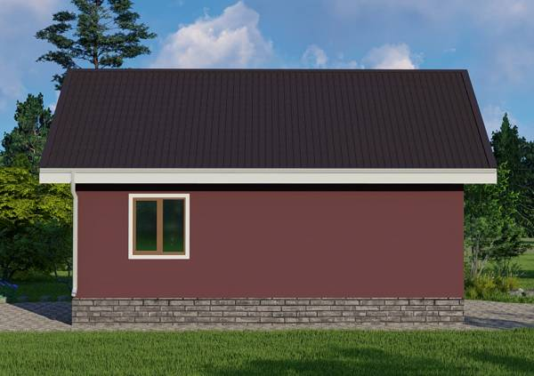 Вид сбоку с одним окном дачный дом 7,5х8,5