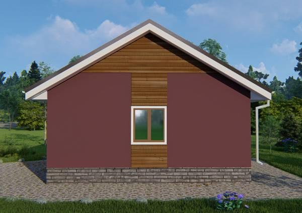 Торец дачного дома с одним окном дом размером 7,5х8,5