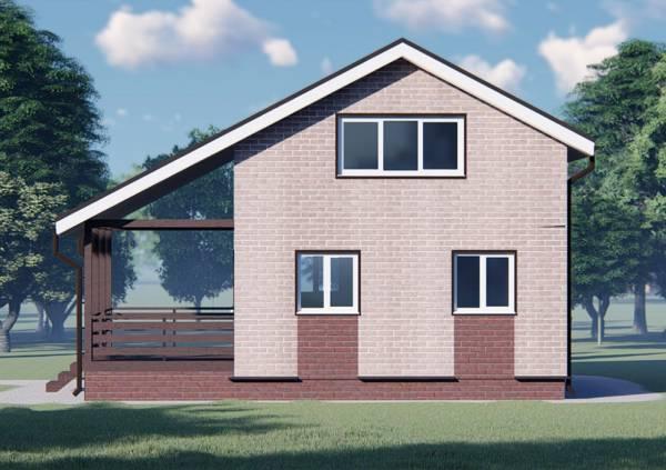 Вид на фасад дачного дома 6.5х8