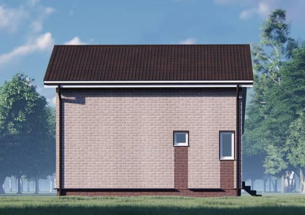 Сторона дачного дома 6.5х8 с  двумя маленькими окнами санузла.