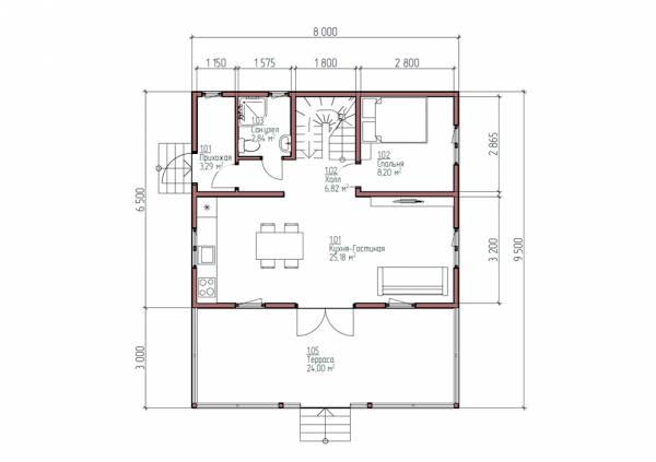 Планировка дачного дома 6.5х8 первый этаж