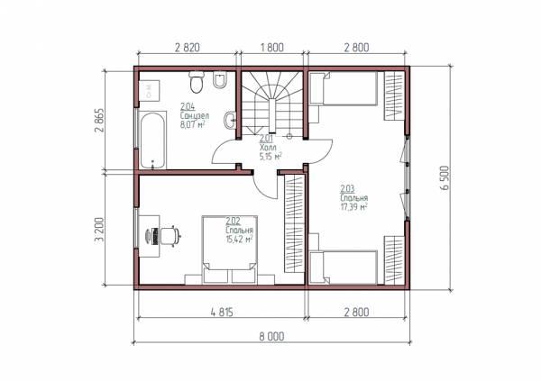 Планировка дачного дома 6.5х8 мансардный этаж