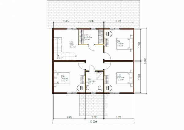 Планировка второго этажа коттеджа 8х10