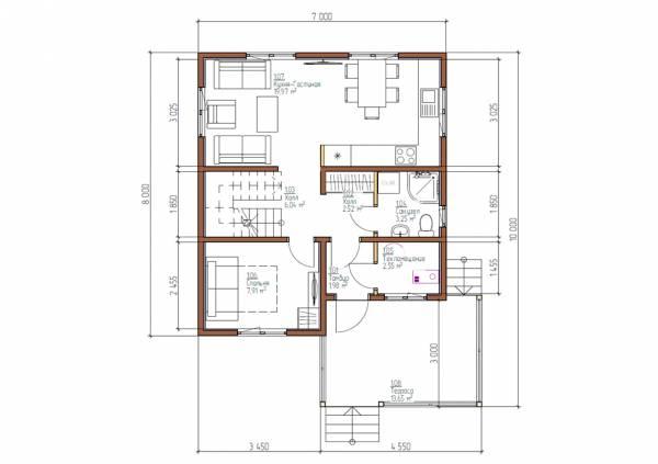 Планировка первого этажа коттеджа 7х8