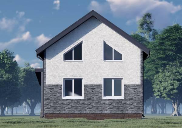 Фасад коттеджа с 4 окнами двухцветный проект 7х8