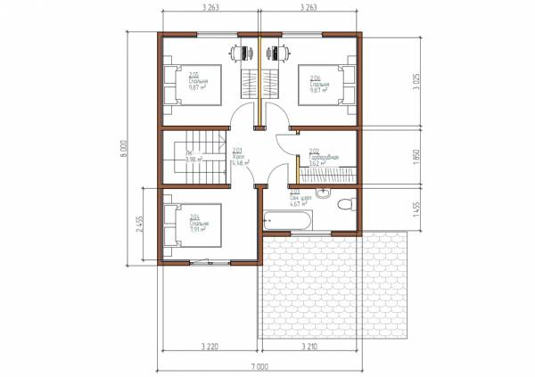 Планировка второго этажа коттеджа 7х8