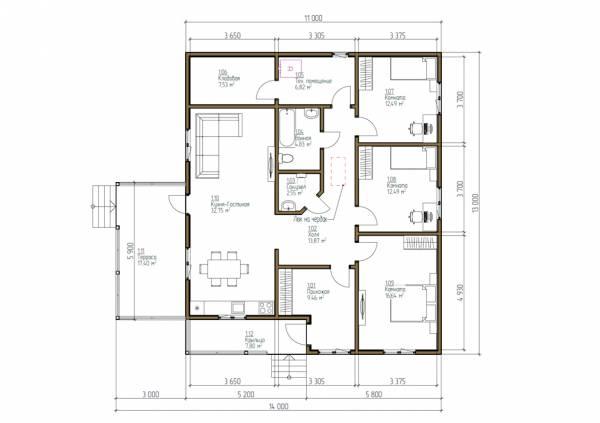 Планировка коттеджа один этаж 11х13