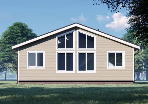 Большие окна на фасаде одноэтажного дома