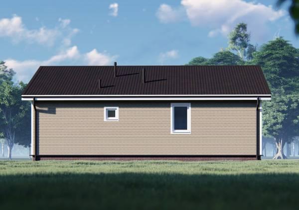 Фасад с маленькими окнами дома 11х12,5 один этаж