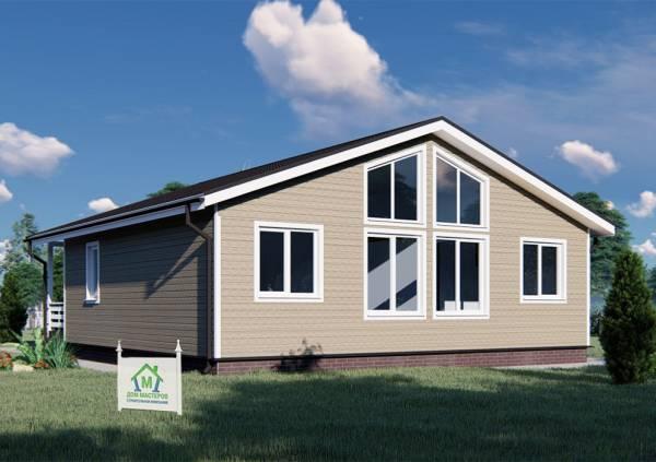 Общий вид на фасад одноэтажного дома 11х12,5 проект Ходаево