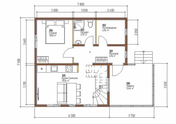 Планировка дома 7,5х7,8 проект Плешкино первый этаж