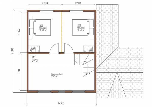 Планировка дома 7,5х7,8 проект Плешкино мансардный этаж