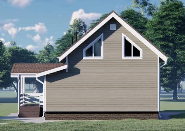 Два окна на втором этаже треугольные и без окон на первом этаже визуализация дома