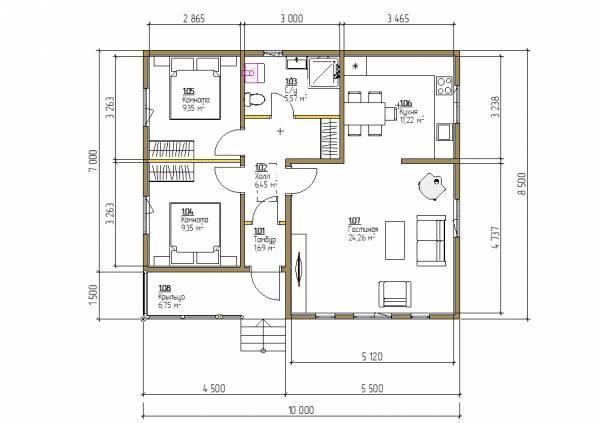 Планировка одноэтажного дома 8,5х10 схема дома с расположением комнат.