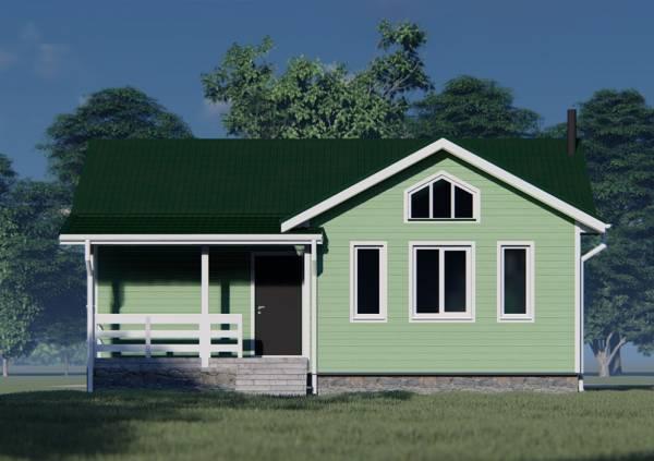 Вид на крыльцо зеленого дома проект Мерлеево.