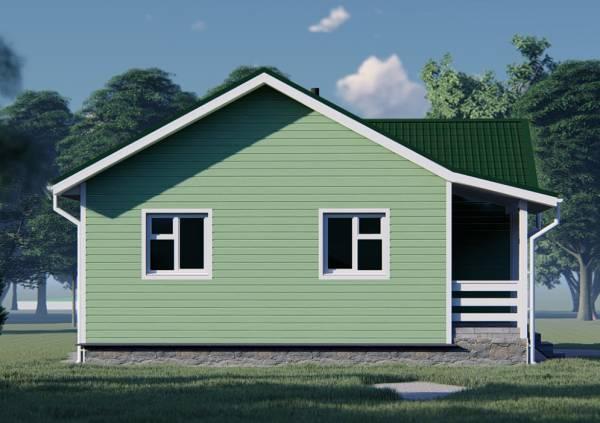 Фасад с двумя окнами одноэтажный дом в зеленом цвете.