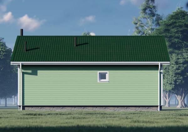 Фасад с маленьким окном из санузла цвет зеленый.