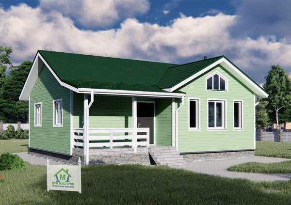 Дачный дом одноэтажный в зеленом цвете 8,5х10 проект Мерлеево.