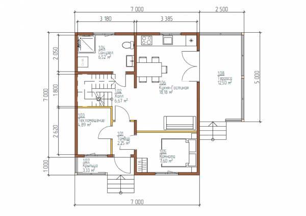 Планировка первого этажа 7х8 проект Прудки со спальней.