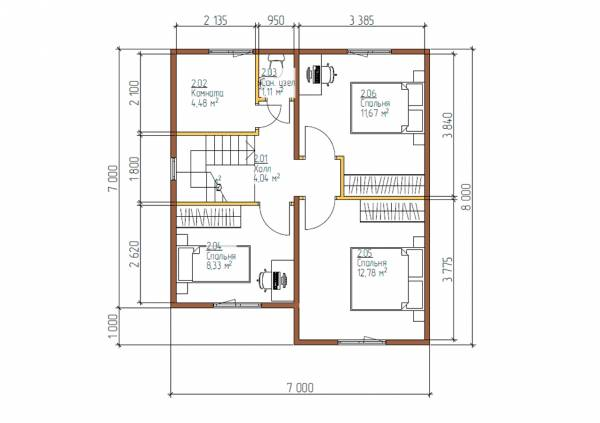Планировка второго этажа 3 спальни мансардный этаж дома 7х8