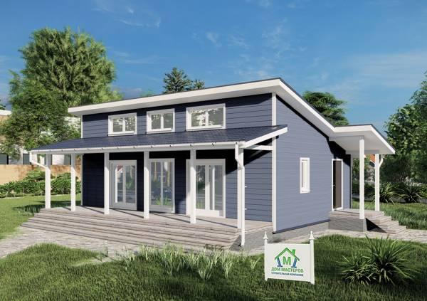 Каркасный Вид на дачный дом 7х11 проект Луговой